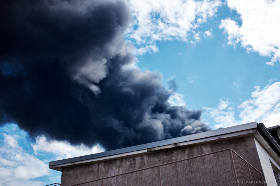 View from my balcony at the recent fire of a warehouse in Ludwigshafen