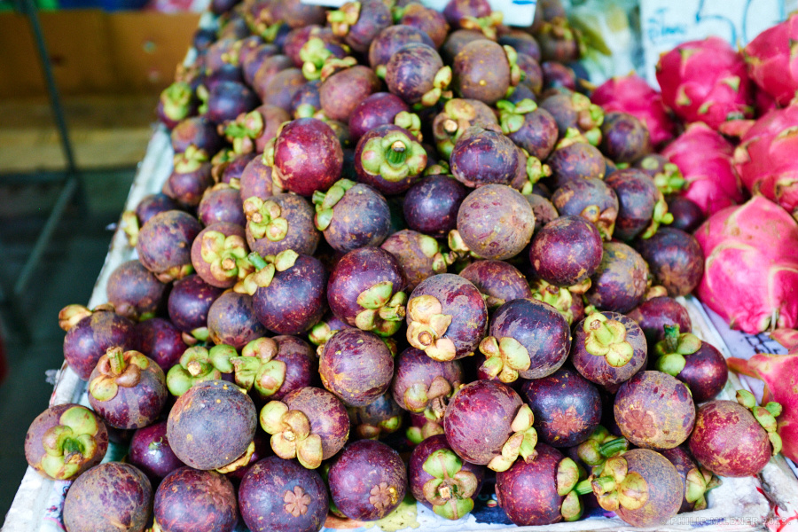 Mangosteens at a fruit market in Bangkok.