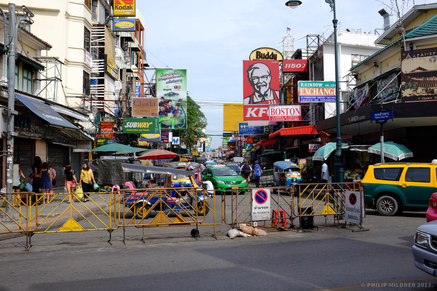 Entry of Khaosan road in Bangkok.